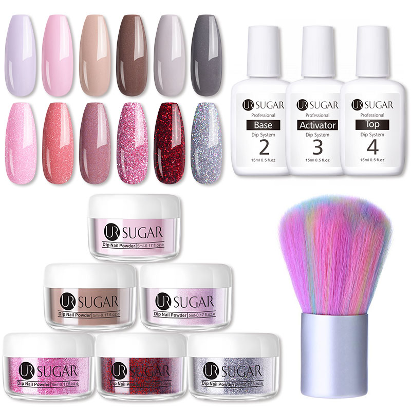 UR SUGAR 5ml Glitter Dipping Nail Powder Set Color Natural Dry Colorful Nail Art Pigment Dust Power Without UV Lamp Cure
