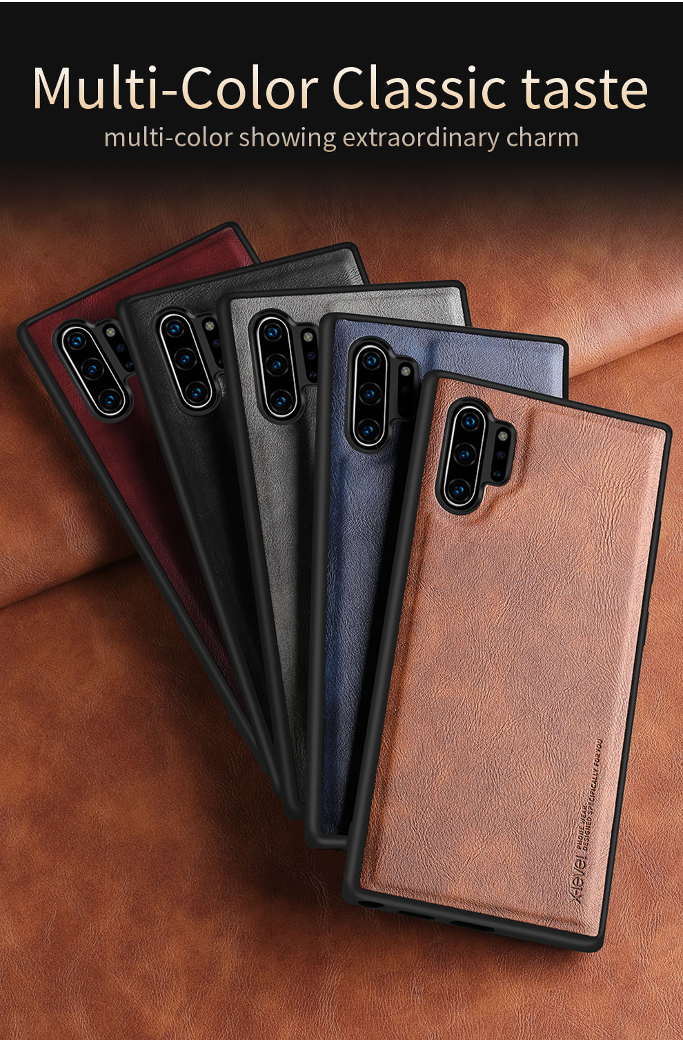 Hddef9751e2b94b4c9f0ed1156a5c7c13M X-Level Leather Case For Samsung Note 10 Plus Soft Silicone Edge Back Phone Cover For Samsung Galaxy Note 10 Case Note10 Plus