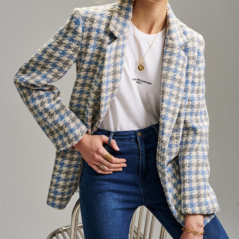 Plaid Houndstooth Blazer Jacket Women  Single Button New Fresh Office Lady Suit Coat