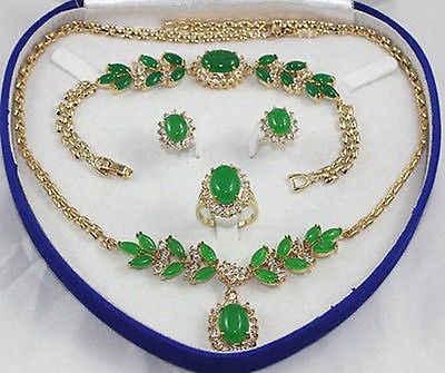 FREIES VERSCHIFFEN >>@> set smaragd jade Halskette Armband Ring Earring18K gold überzogene uhr großhandel Quarz stein CZ kristall Nat