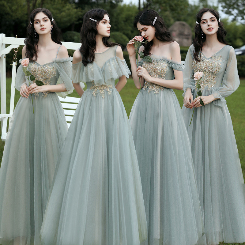 Shining Sequin Bridesmaid Dresses Appliques A Line Wedding Party Prom Gowns Aqua Green Floor Length Elegant Women Dress R019