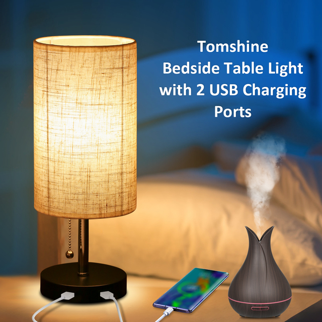 Bedside Table Light Pulling Switch Desk Nightstand Lamp with 2 USB Charge Port Round Fabric Shade for Bedroom Living Room Office
