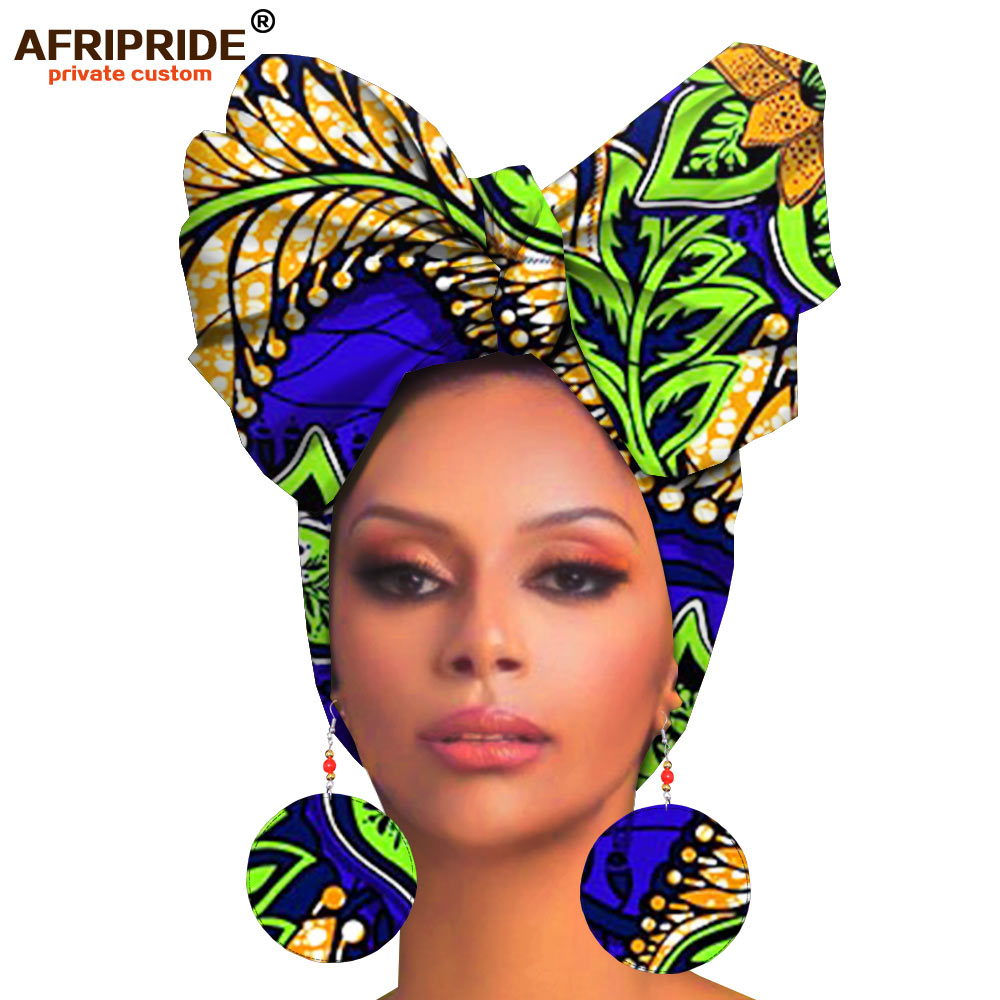 African Headwraps And Earings For Women African Head Scarf Ankara Traditional Headtie Scarf Turban Print Wax AFRIPRIDE A19H008