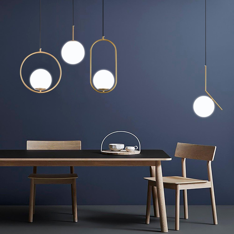 북유럽 유리 공 펜 던 트 조명 현대 LED 매달려 램프 거실 황동/블랙/크롬 펜 던 트 램프
