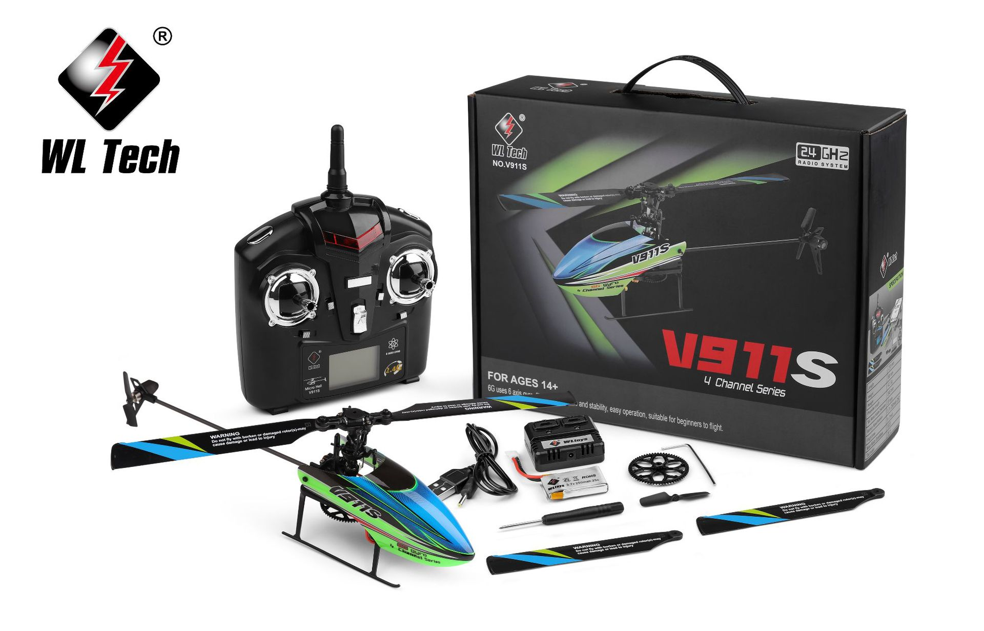 Weili V911s Four-Channel Stand-up Aircraft 2.4g LCD Display Remote Control Helicopter Toy Gift