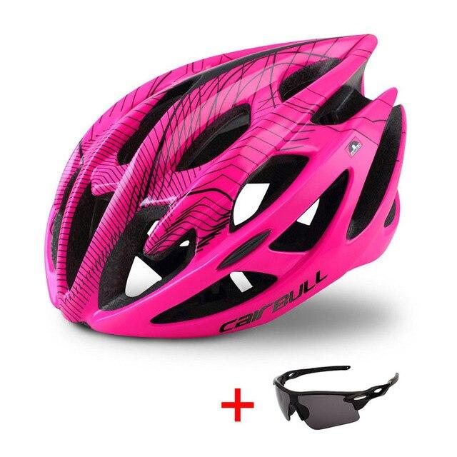 Capacete profissional de bicicleta de estrada e de montanha, capacete com óculos ultraleve dh mtb all-terrain esportes equitação ciclismo 5