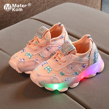 Size 21-30 Luminous Toddler Shoes for Boys Girls Children #8217 s Led Shoes Kids Glowing Sneakers for Kids Sneakers with Luminous Sole cheap Mater Kom 7-12y CN(Origin) Spring Autumn Lighted unisex Rubber COTTON Fits true to size take your normal size Hook Loop