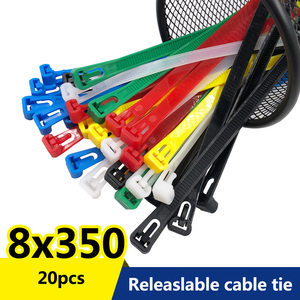 8*350 length 14in Various colors may loose nylon cable ties slipknot tie Releasing number reusable packaging