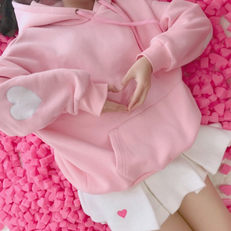 Harajuku Women Hoodies Sweatshirts Cute Long Sleeve Heart Embroidery Sweatshirt Winter Fleece Casual Hoodie Pullover W2