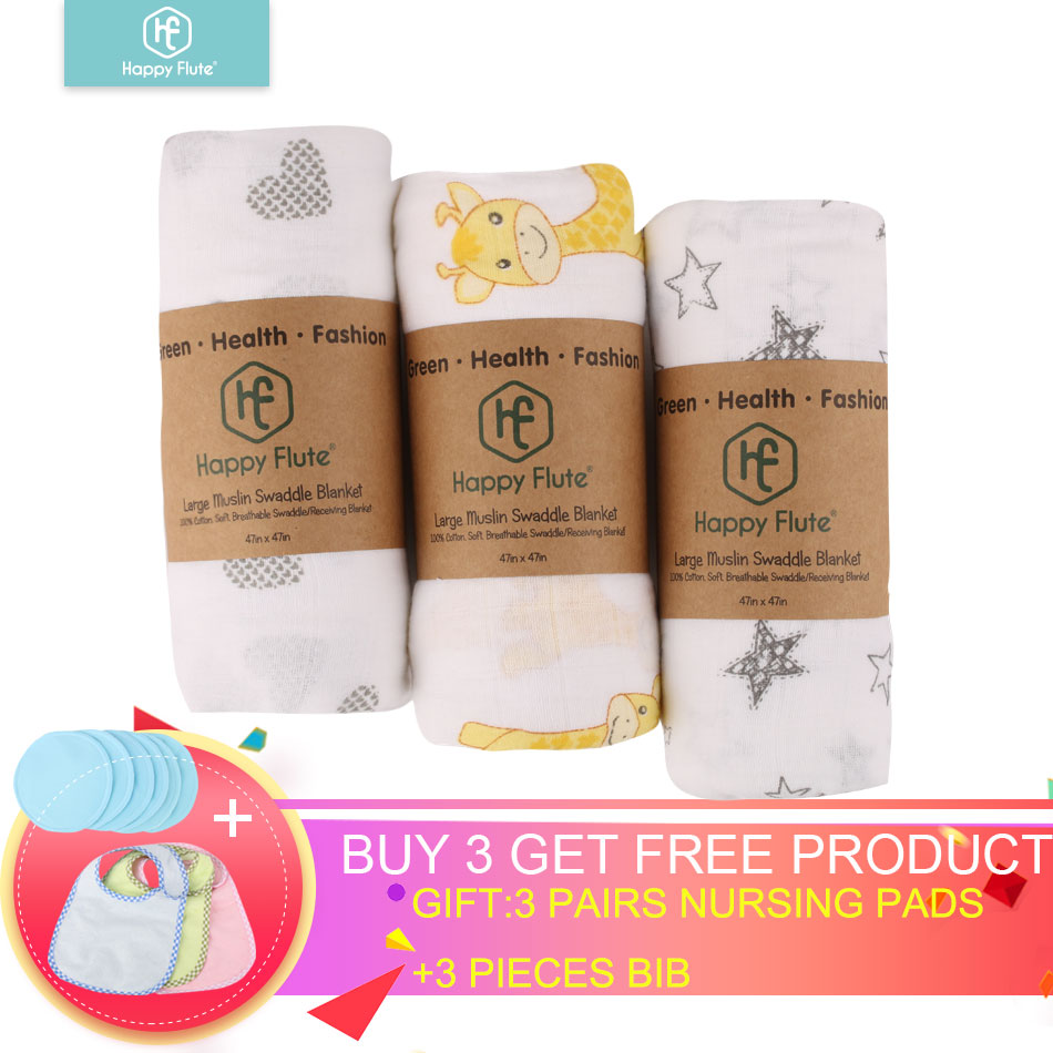 HappyFlute 3Pieces Muslin 100% Cotton Baby Swaddles Soft Newborn Blanket Bath Gause Infant Wrap Sleepsack Stroller Cover Play