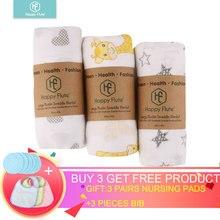 HappyFlute 3Pieces Muslin 100% Cotton Baby Swaddles Soft Newborn Blanket Bath Gause Infant Wrap Sleepsack Stroller Cover Play