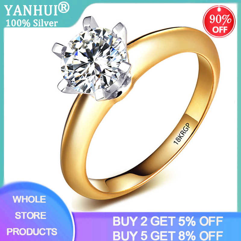 Top Qualität Silber 925 Ring Mit 18KRGP Stempel Echt Gelb 18K Gold Ring Solitaire 8mm 2,0 ct labor Diamant Hochzeit Ringe Für Frauen
