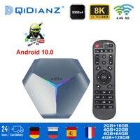 A95X F4 Android 10 RGB Smart tv box 2,4G/5G Wifi Bluetooth 4,2 Amlogic S905X4 Quad Core 8K Media Player Set-Top Box PK IPTV