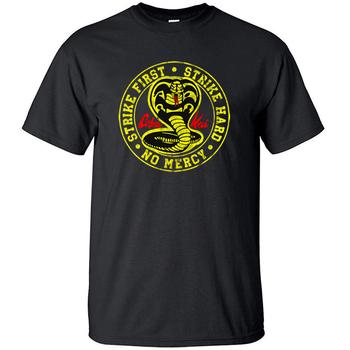 Cobra Kai T Shirt mężczyźni Strike First Strike Hard No Mercy Tshirt koszule bawełniane letni Top koszulki z krótkim rękawem koszulki czarny T-Shirt tanie i dobre opinie teekossc CN (pochodzenie) O-neck COTTON Na co dzień Stałe