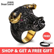 DreamCarnival 1989 Chunky Black Bull with Golden Color Horns Punk Hip Hop CZ Big Ring for Unisex Men Women Street Fashion SR2314(China)