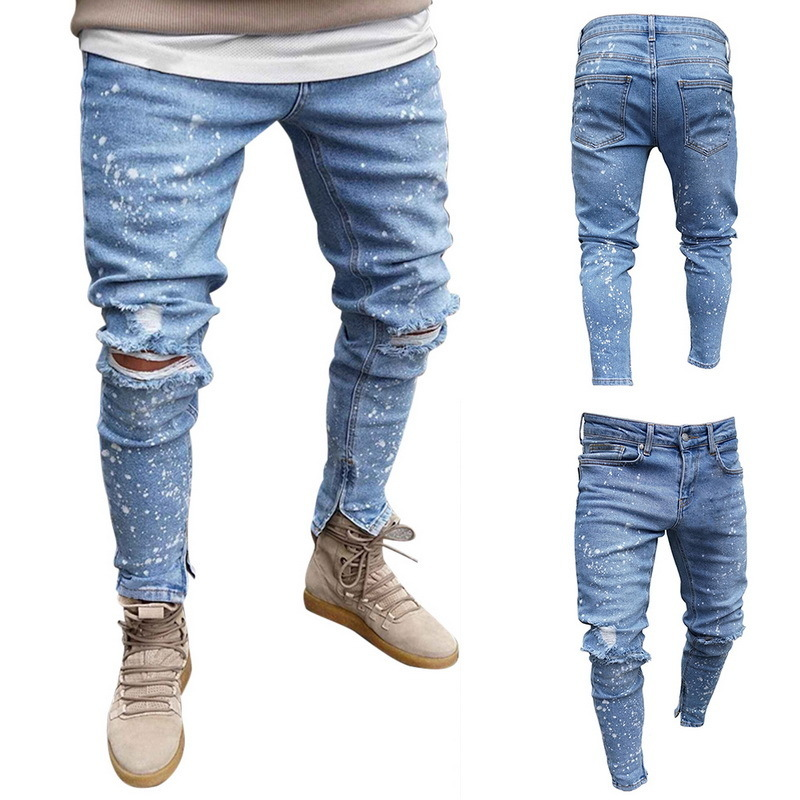 Men Paint Point Ripped Jeans Pants Stretch Destroyed Hole Jeans Fashion Ankle Zipper Skinny Denim Trousers For Men 2019 New
