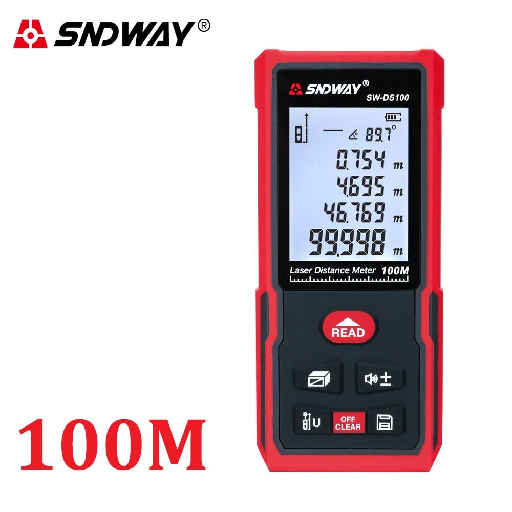 SNDWAY Laser Distance Meter 120M 100M 70M 50M Laser Rangefinder Range Finder Roulette Tape Electronic Level Measure Angle Tools
