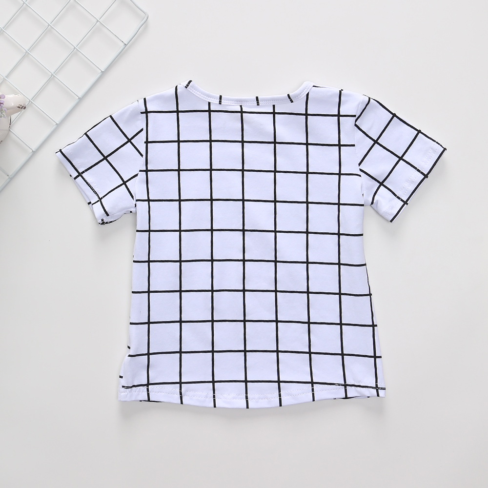 1 6T Summer Boys T Shirt Toddler Girl Tees Plaid T shirt for Girls Cotton Children 39 s Tshirts for Boy Child Shirts Kids Tops in T Shirts from Mother amp Kids