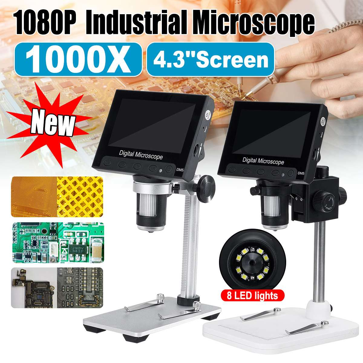 1000x 5.0MP DM5 <font><b>USB</b></font> Digital Electronic <font><b>Microscope</b></font> 4.3