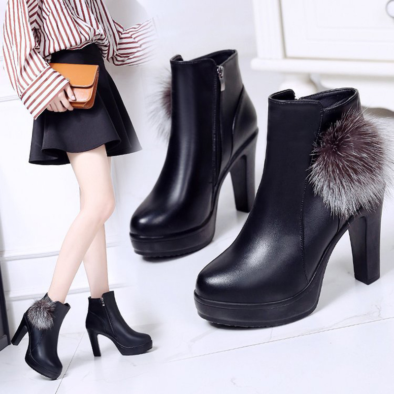 2019 autumn and winter newest black super high heel boots shoes women waterproof platform stiletto daily outdoor pointed boots image