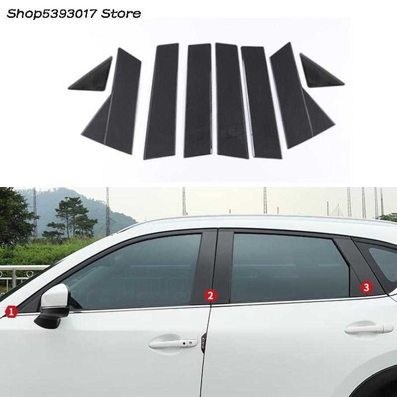 8Pcs Car Window Pillar Posts Trim Cover Molding For <font><b>Mazda</b></font> <font><b>CX5</b></font> CX-5 2017 <font><b>2018</b></font> 2019 Center BC Column Stickers Car Stylings image