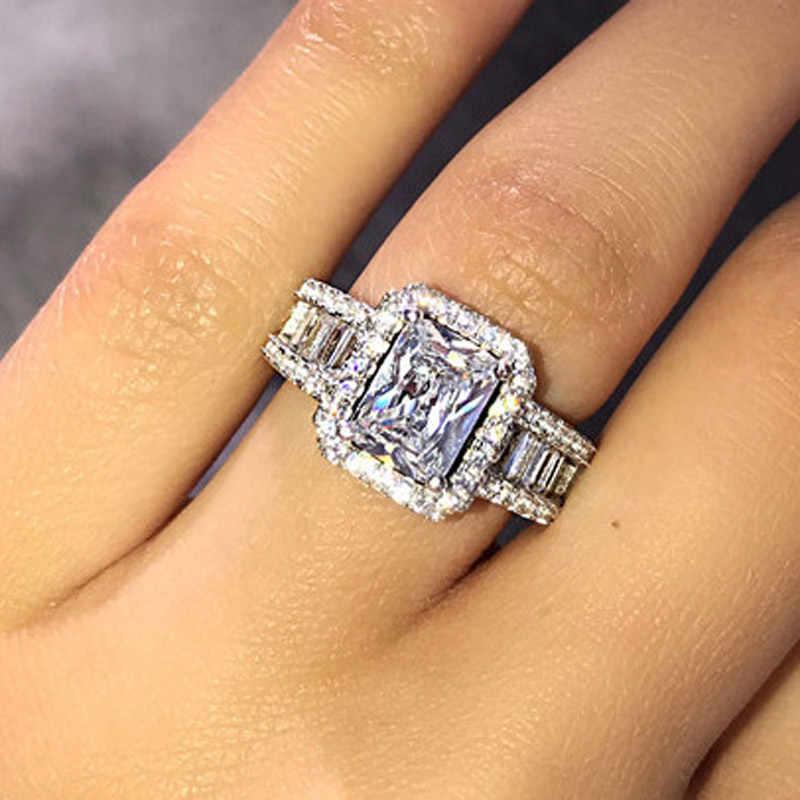 Vagzeb Luxe Merk 925 Sterling Zilveren Trouwringen Voor Vrouwen 3 Karaat Aaa + Zirconia Ring Mode-sieraden