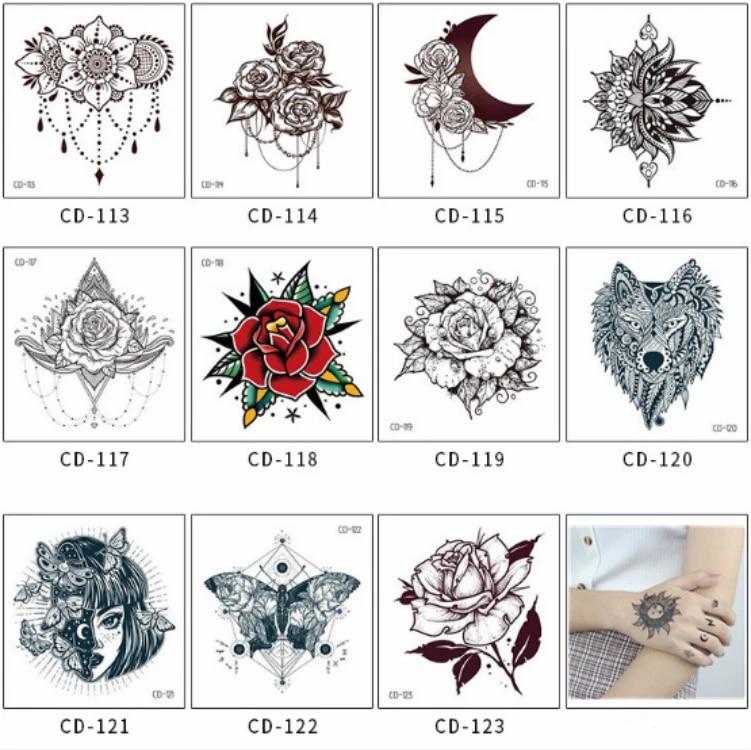 1pc Sexy Mandala Fleur Noir Blanc Fleurs Tatouages Autocollant Temporaire Dessin Fleur Fille Art Corporel Faux Tatouages Transfert D Eau Aliexpress