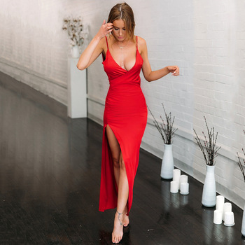 Summer party sexy club V-neck sexy slim open back slit suspender dress sleeveless dress short designer new good 2