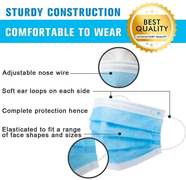 Safety Face Masks, Disposable Earrings Mask Filtering Breathable Beauty 3 Layers 1