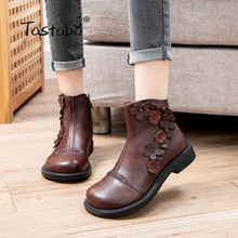 Short Boots S866 Low-Heel-Shoes Handmade Genuine-Leather Fashion Motorcycle Female Autumn