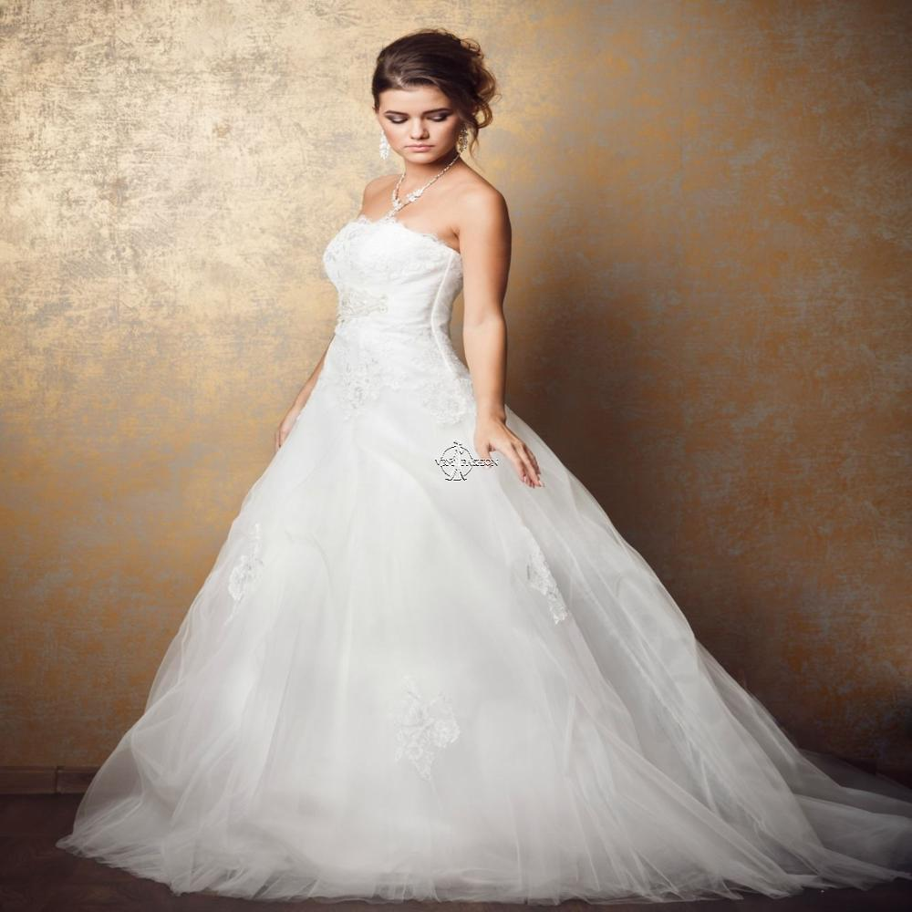 Simple A Line Wedding-Dresses White Ivory Beautiful Lace Appliques Tulle Bridal Gown Vestido De Noiva