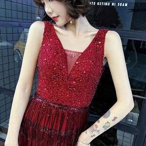 Image 4 - 2020 판매 칵테일 드레스 Vestido 칵테일 토스트 드레스 신부 가을 2020 새로운 감사 연회 호스트 테일 쇼 얇은 저녁