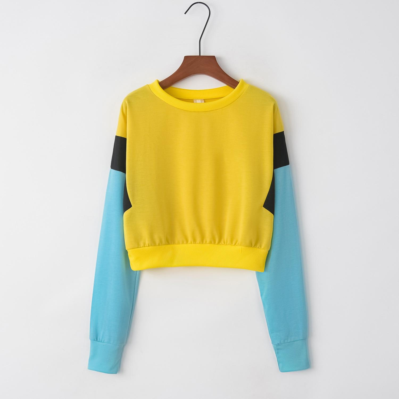 Patchwork Blue Sleeve 2020 New Design Hot Sale Hoodies Sweatshirts Women Casual Kawaii Harajuku Sweat Girls European Tops Korean