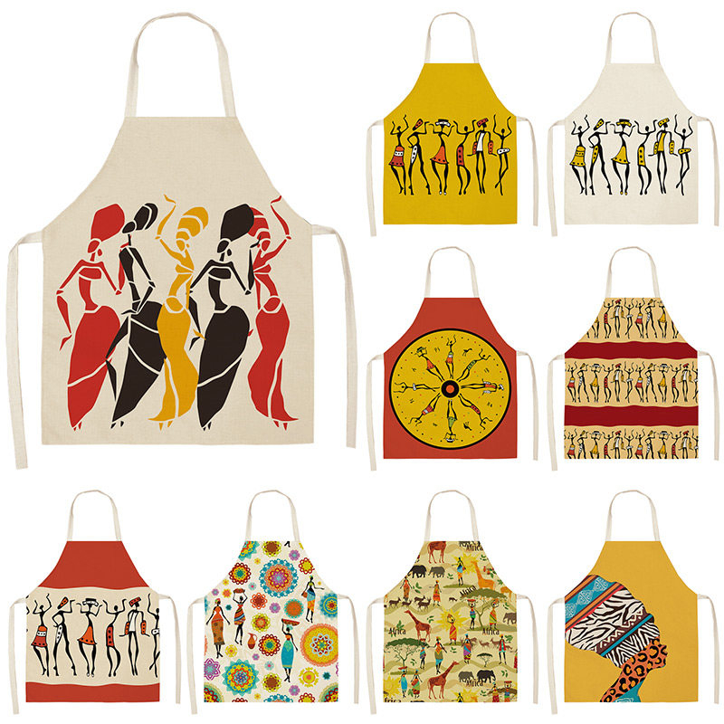 African Style Kitchen Aprons For Women Cotton Linen Pinafore Bibs Household Cleaning Home Cooking Apron 53*65cm WQL0196