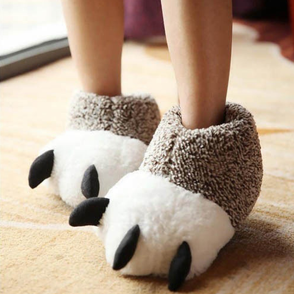 Fashion Thermal Winter Indoor Shoes Cotton Padded Plush Cartoon Bear Claw Non slip Slippers Home Cotton Slippers Floor Shoes in Slippers from Shoes