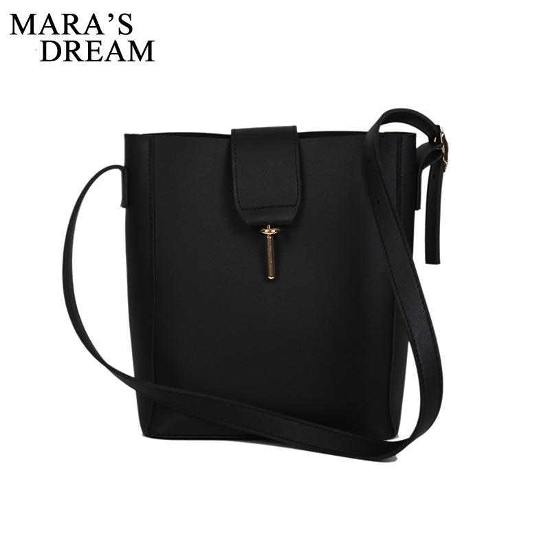 Mara's Dream 2019 New Solid Color Hong Kong Style Diagonal Cross Bag Women's Fashion Wild Messenger Shoulder Bucket Bag