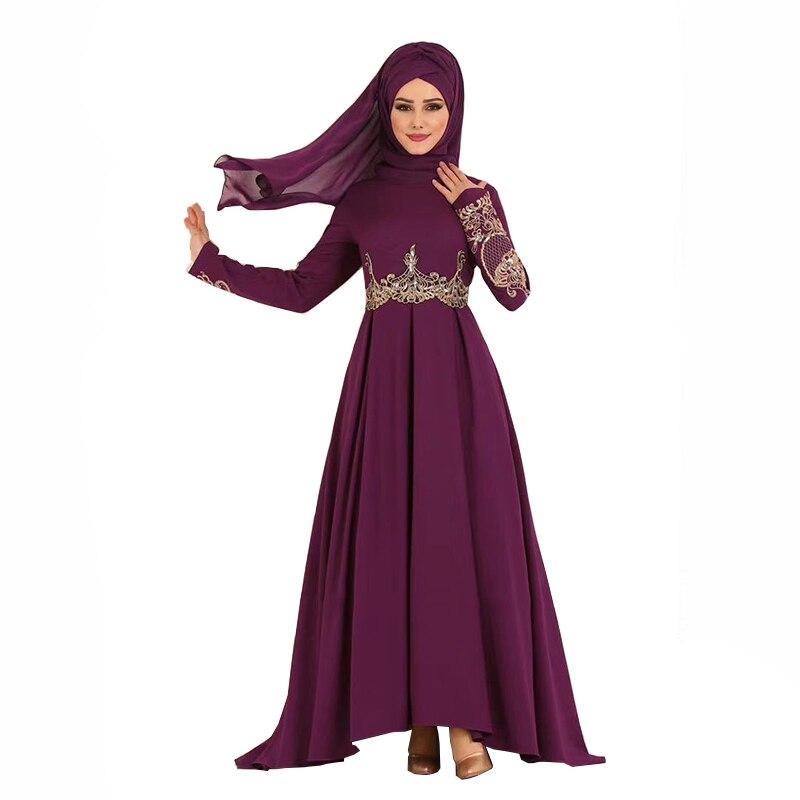 Мусульманское платье с высокой талией Элегантные темпераментные плиссированные закрытые туфли большое свободное платье размера плюс плат...