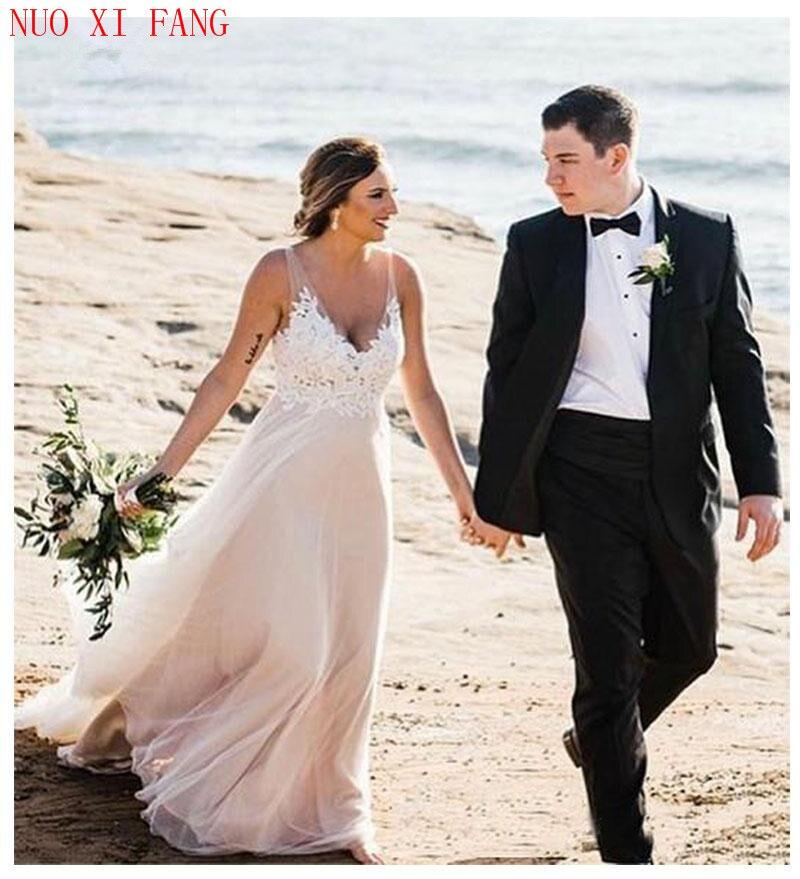 Simple V Neck Beach Wedding Dreess 2020 Floor Length Bride Dress Lace Appliques Backless Modest Hot Sale Vestido De Noiva