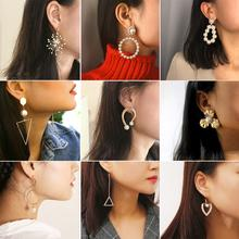 10 Styles Bohemia Earrings Natural Pearl RhineStone Geometry For Women Anniversary Prom Wedding Jewelry Gift Accessories nymph seawater pearl bracelets fine jewelry near round natural pearl bangles for women gold trendy anniversary gift [s308]