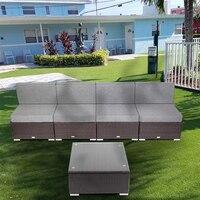 US Warehouse 5 Pieces Patio PE Wicker Rattan Sofa Set Furniture Outdoor Steel & Wicker Material