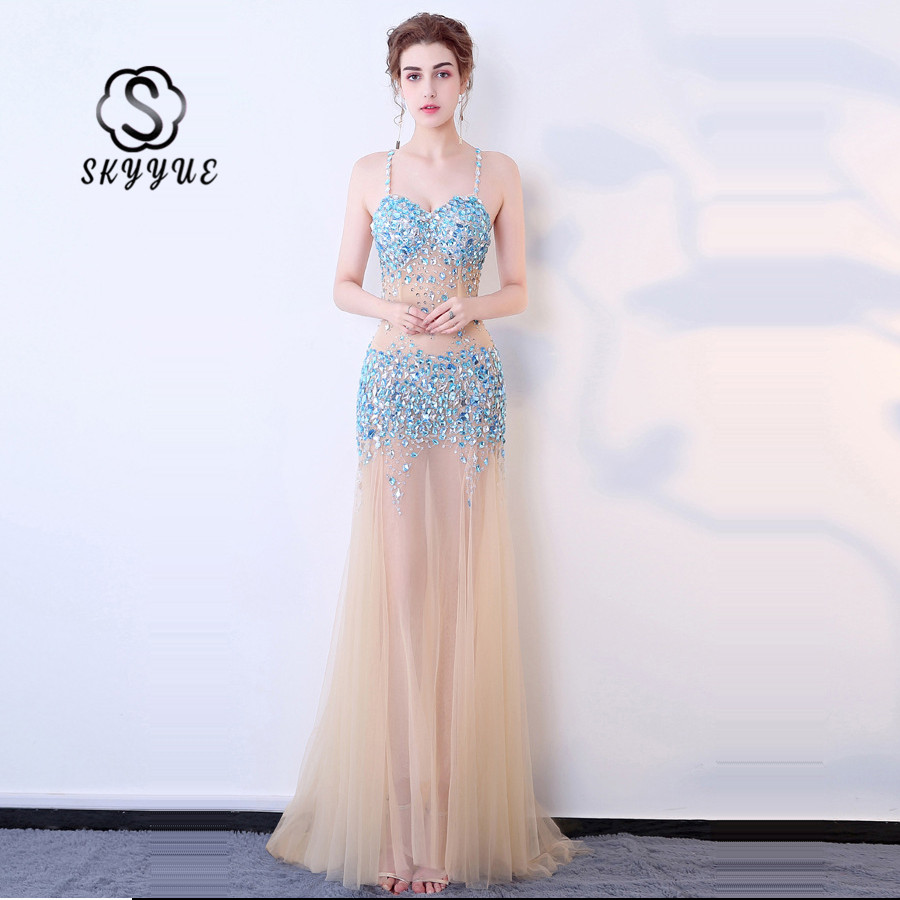 Skkyue   Evening     Dress   2019 Diamond Womwn Party   Dresses   Sling Sleeveless Robe De Soiree Floor Length Formal   Evening   Gown H020