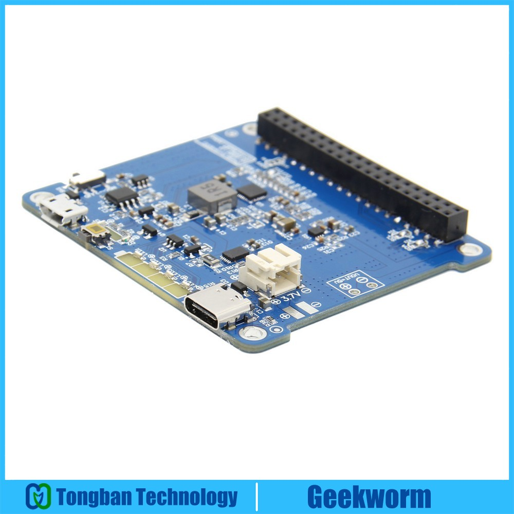 Raspberry Pi 4 Model B/3B+/3B UPS HAT 2 With Type-C, Li-ion Battery Power Source Supply Expansion Board (Without Battery)