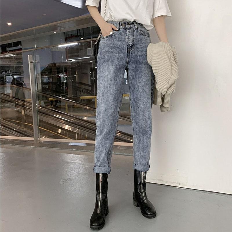 Femmes taille haute jean droit Slim jean Vintage femmes lavé Denim pantalon pantalon haute qualité blanchi Denim jean pantalon