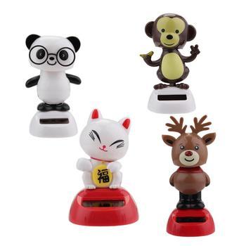 Hot Novelty Solar Toys Adorable Solar Powered Dancing Panda Santa Claus Animal Toy For Home Desk Car Decoration Kids Toys Gift 6