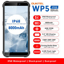 OUKITEL WP5 IP68 Impermeabile 4GB 32GB Android 9.0 8000mAh 5.5 ''HD + 18:9 Quad Core 13MP MT6761 Tri-prova di 5V/2A 4G Del Telefono Mobile(China)
