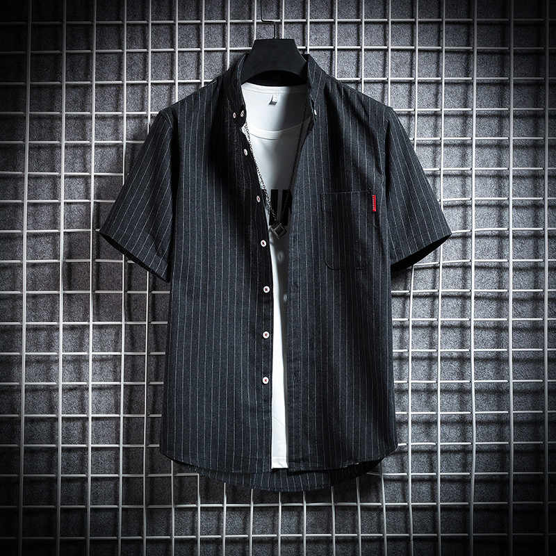 Gli uomini Camicia A Righe A Manica Corta Vestito A Strisce Della Camicia Formale Nero Nuovo 2020 di Estate Casual Slim Fit Tasca di Alta Qualità di Business
