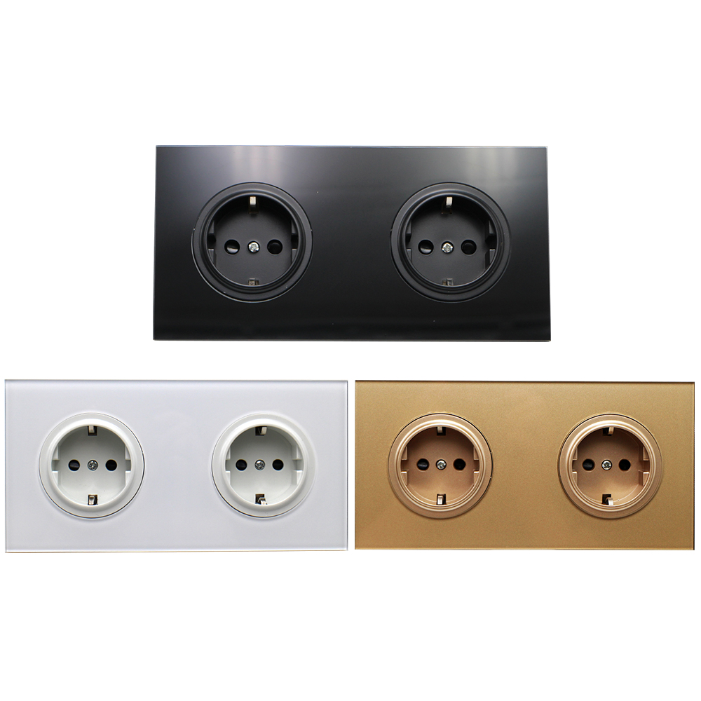 lowest price 16A EU Standard Wall Power Socket Crystal Glass Panel Electric Power Outlet Charger Adapter Panel