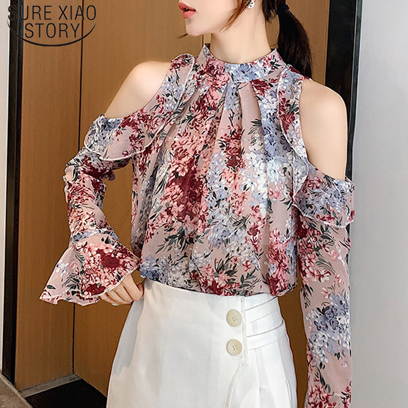 Fashion Autumn Casual Print   Blouse   Long Butterfly Sleeve Floral Shoulder-exposed Chiffon   Shirt   Temperament Women Tops 5791 50
