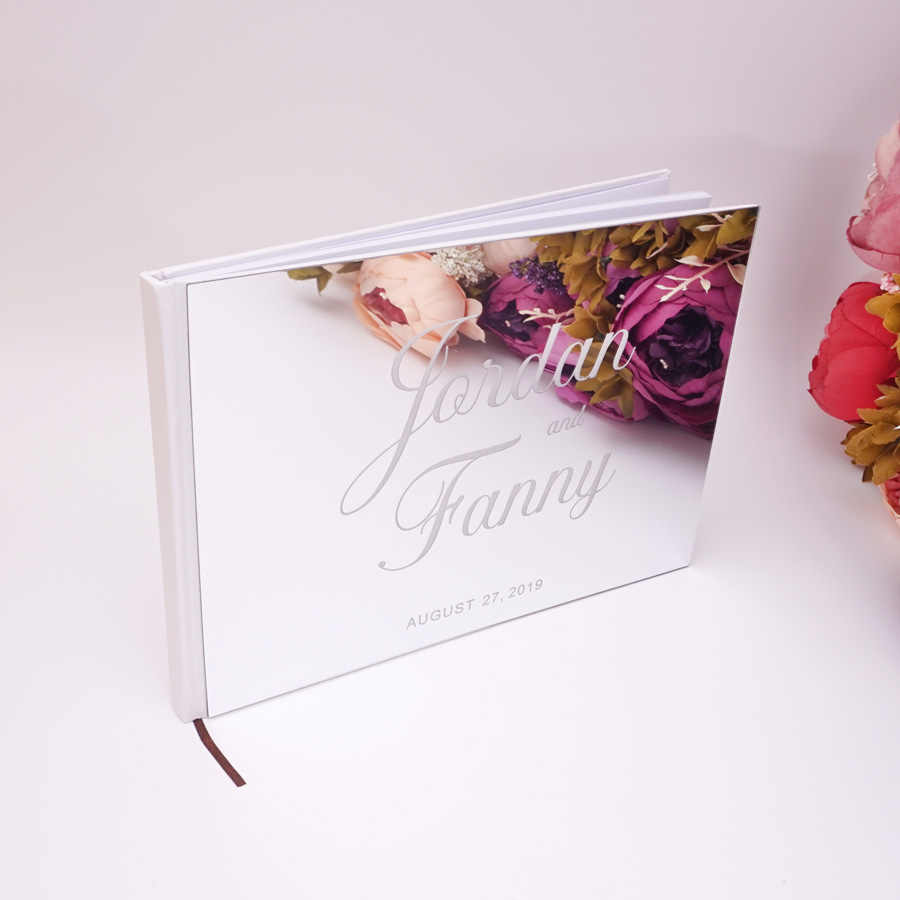 25x18 ซม.งานแต่งงานที่กำหนดเองแนวนอน Signature หนังสืออะคริลิคกระจกสีขาว Blank ส่วนบุคคลหนังสือ Party โปรดปรานเจ้าสาวของขวัญ