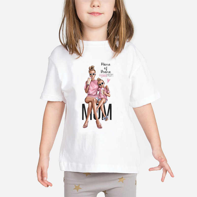 Super Mom Baby Girls T Shirt Mother and Baby Love Life Vogue Kawaii Printed T-Shirts Mommy's Love Kids White Clothing Child Tops